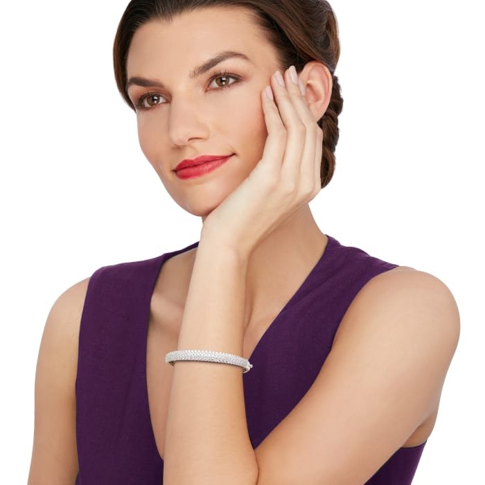 5.42 ct. t.w. Diamond Multi-Row Bangle Bracelet in 18kt White Gold