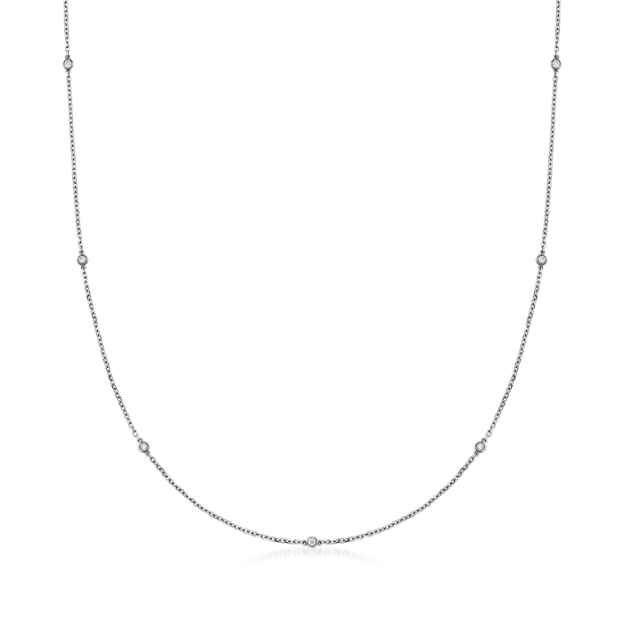 C. 1990 Vintage .45 ct. t.w. Diamond Station Necklace in 18kt White Gold