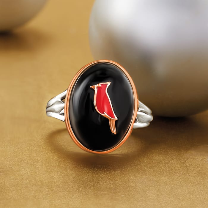 Black Agate and Red Enamel Cardinal Ring in Two-Tone Sterling Silver