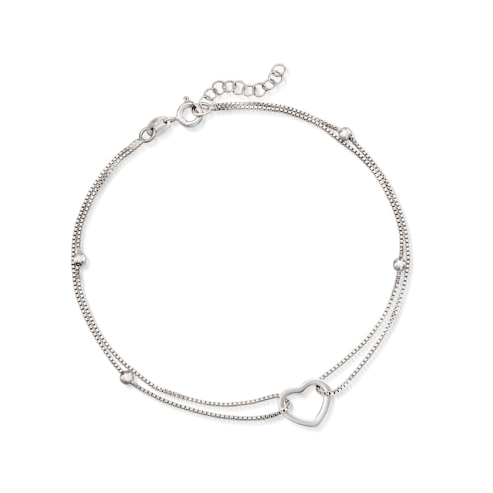 Sterling Silver Heart and Bead Anklet