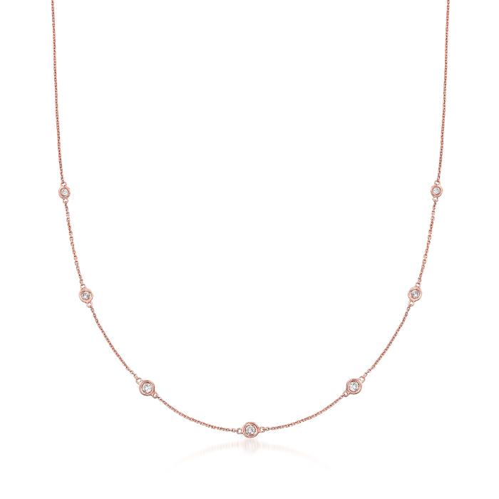 .33 ct. t.w. Graduated Bezel-Set Diamond Station Necklace in 14kt Rose Gold | Ross-Simons