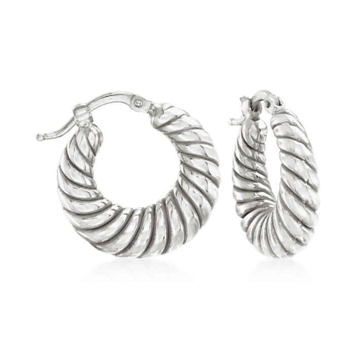 Italian Sterling Silver Jewelry Set: Three Pairs of Hoop Earrings