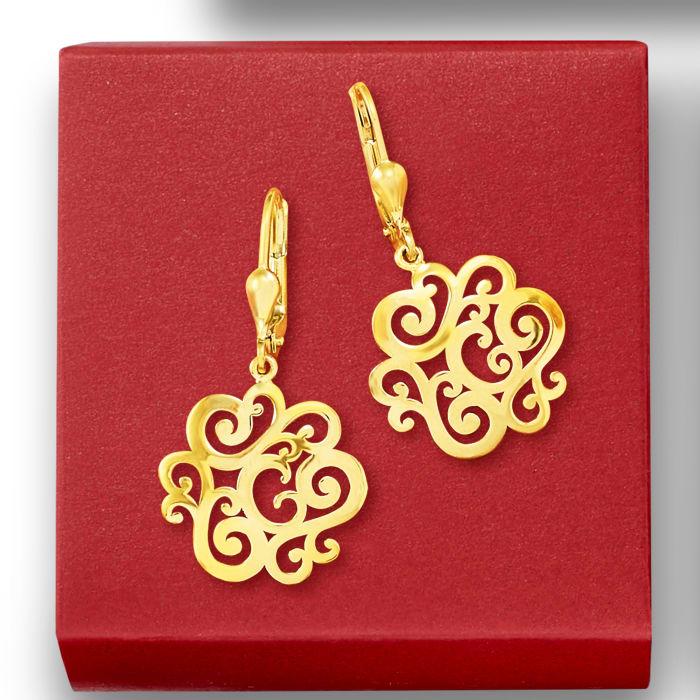 14kt Yellow Gold Openwork Swirl Drop Earrings