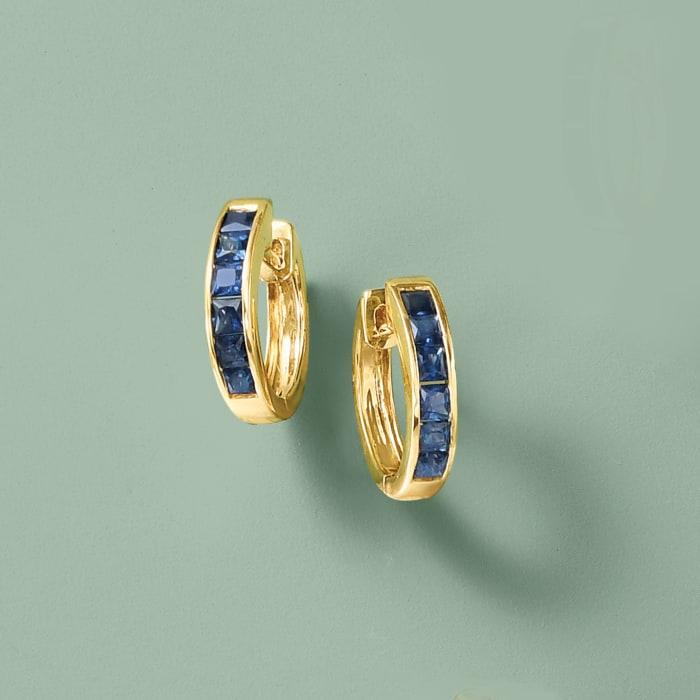 .80 ct. t.w. Sapphire Huggie Hoop Earrings in 14kt Yellow Gold