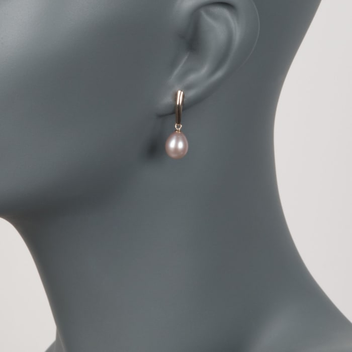 8.5-9mm Pink Cultured Pearl Drop Earrings in 14kt Yellow Gold