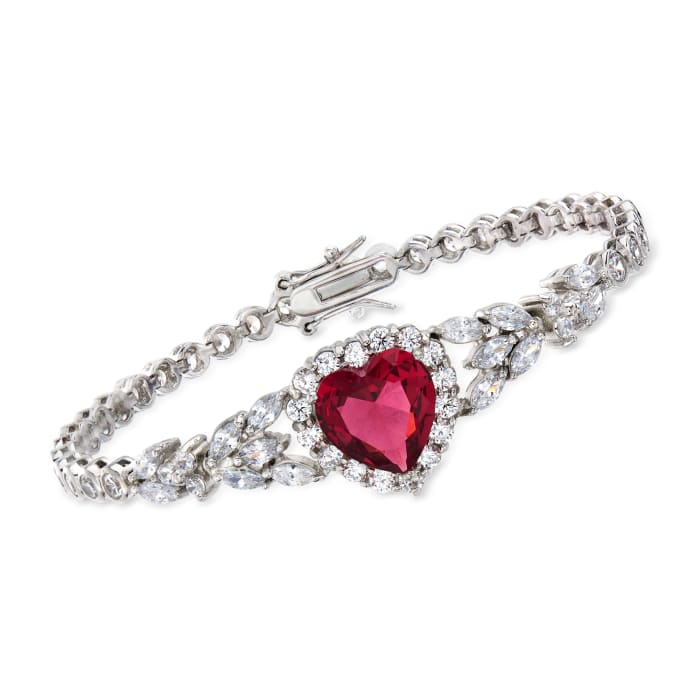 7.25 Carat Simulated Ruby and 6.67 ct. t.w. CZ Heart Bracelet in Sterling Silver