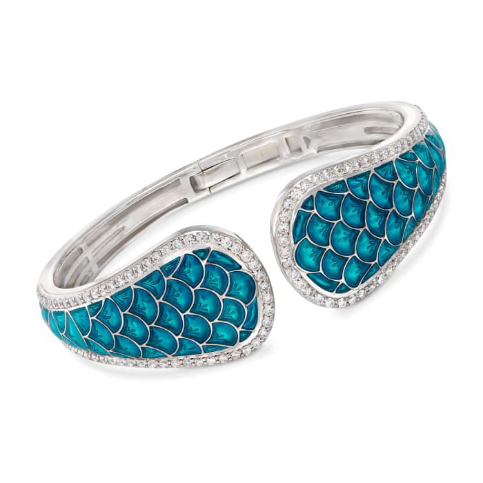 """Belle Etoile """"Marina"""" Sea-Blue Enamel and 3.15 ct. t.w. CZ Cuff Bracelet in Sterling Silver"""
