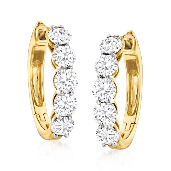 2.00 ct. t.w. Diamond Five-Stone Hoop Earrings in 14kt Yellow Gold
