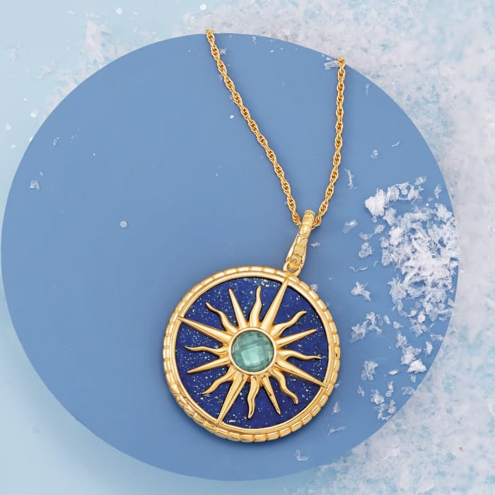 Lapis and 1.30 Carat London Blue Topaz Sun Pendant Necklace in 18kt Gold Over Sterling
