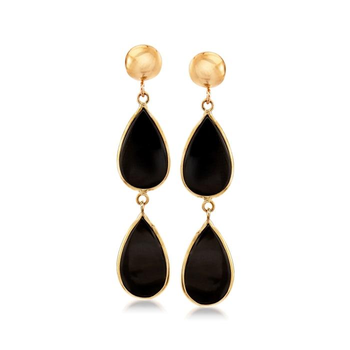 Black Onyx Double-Teardrop Earrings in 14kt Yellow Gold