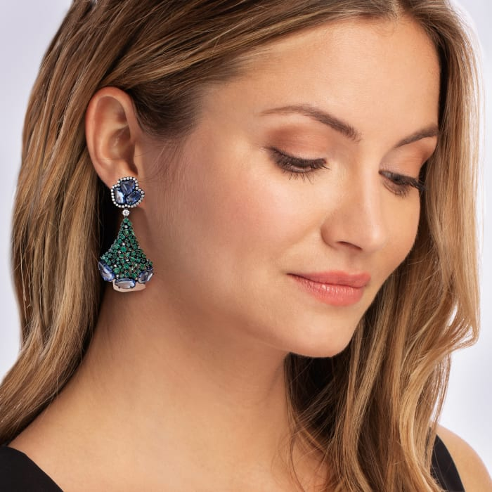 20.00 ct. t.w. Sapphire and 5.30 ct. t.w. Emerald Drop Earrings with .80 ct. t.w. Diamond in 18kt White Gold