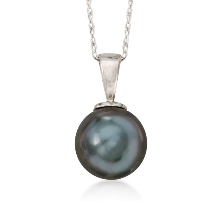 10-11mm Black Cultured Tahitian Pearl Necklace in 14kt White Gold