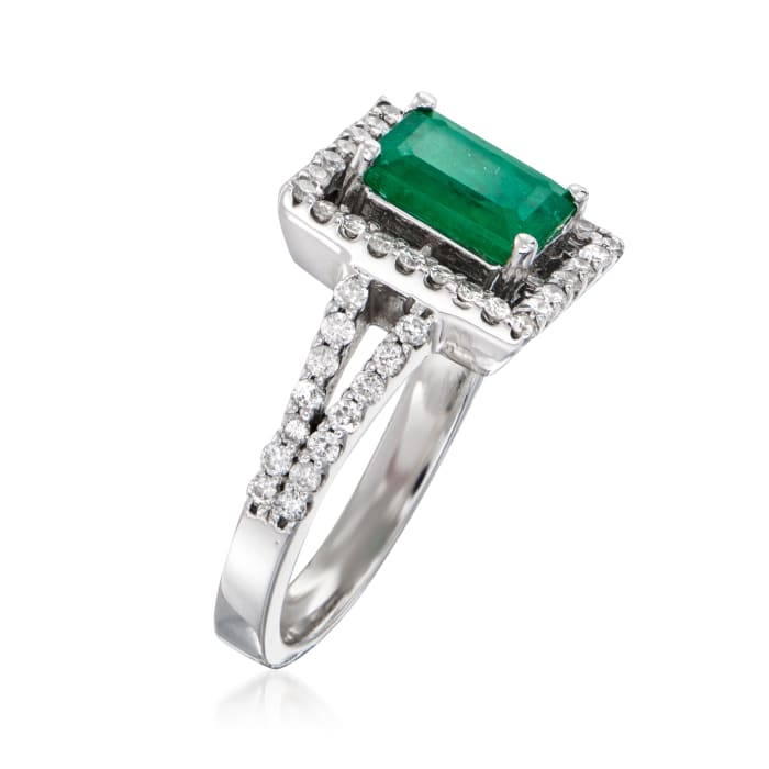 1.60 Carat Emerald and .56 ct. t.w. Diamond Ring in 14kt White Gold
