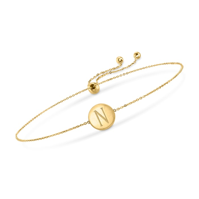 14kt Yellow Gold Single-Initial Disc Bolo Bracelet