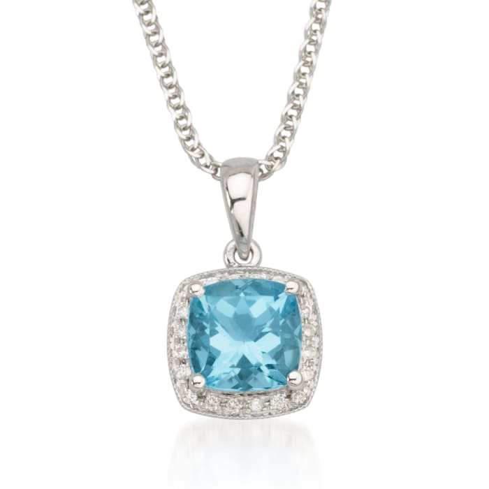 1.65 Carat Blue Topaz Necklace with Diamonds in 14kt White Gold