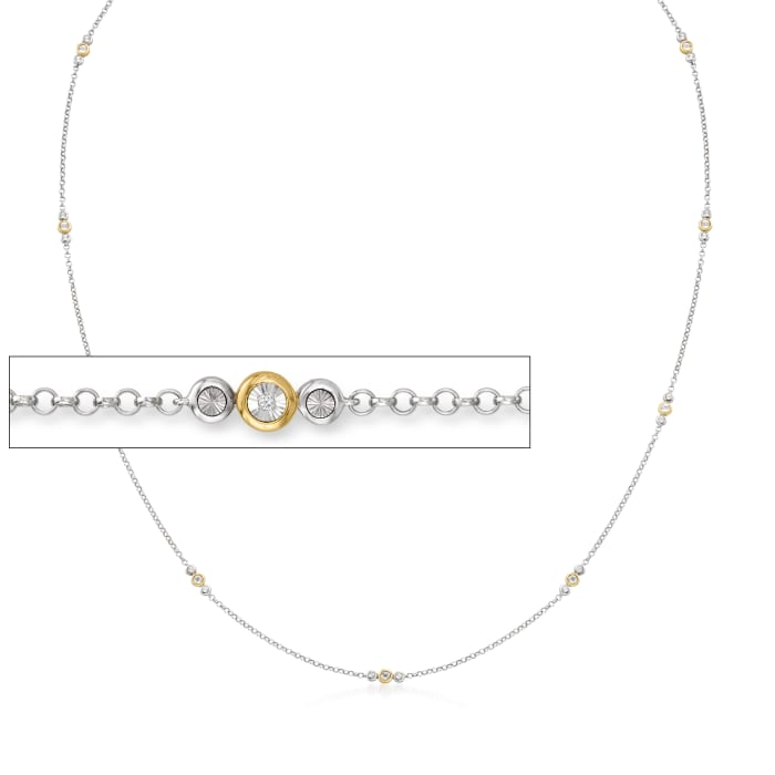 3-In-1 Diamond-Accented Necklace, Mask Holder and Eyeglass Chain in Two-Tone Sterling Silver