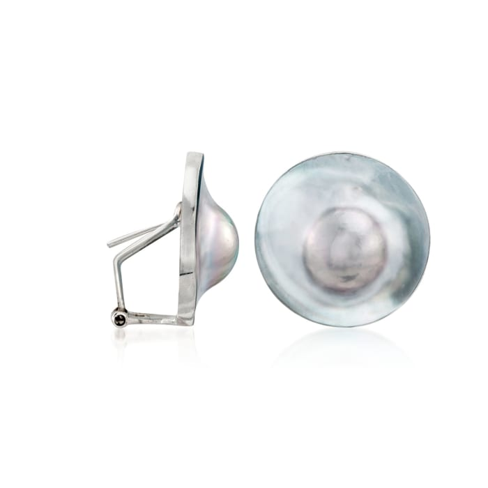 23mm Gray Cultured Blister Pearl Earrings in Sterling Silver