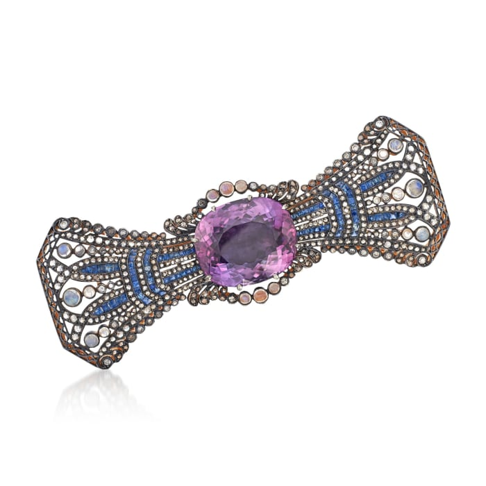 C. 1980 Vintage Moonstone and 43.33 ct. t.w. Multi-Stone Bow Pin in Two-Tone Sterling Silver