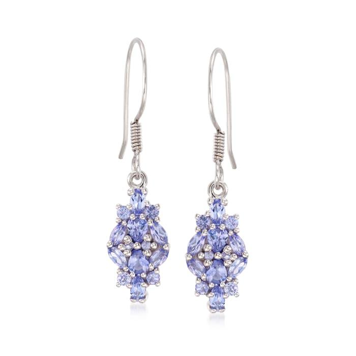 1.78 ct. t.w. Tanzanite Drop Earrings in Sterling Silver