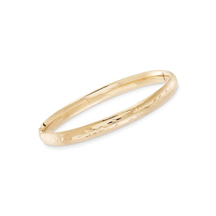 Child's 14kt Yellow Gold Floral Bangle Bracelet
