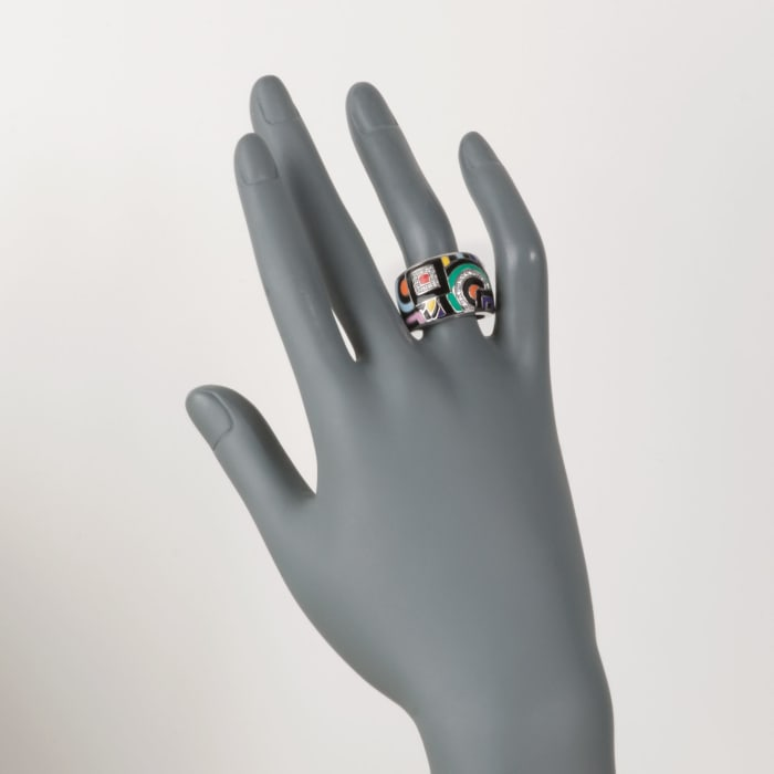 "Belle Etoile ""Geometric"" Multicolored Enamel and .15 ct. t.w. CZ Ring in Sterling Silver"