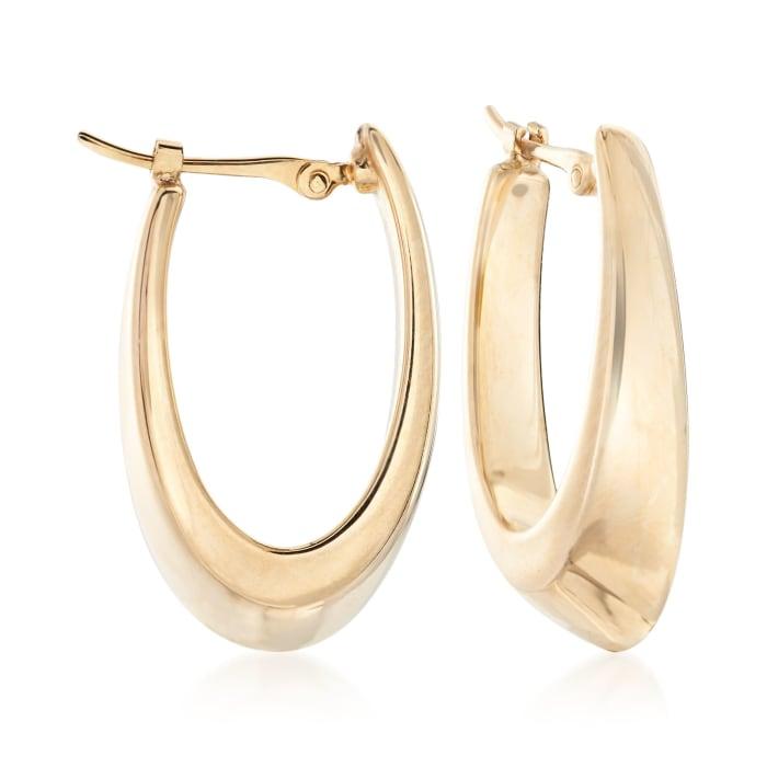 14kt Yellow Gold Oval Hoop Earrings
