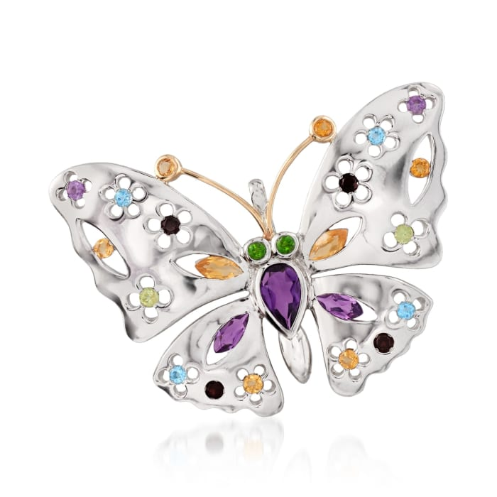 2.50 ct. t.w. Multi-Stone Floral Butterfly Pin Pendant Necklace in Sterling Silver and 14kt Gold