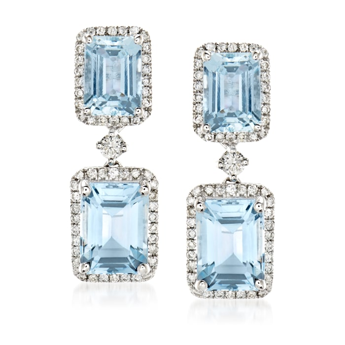 4.90 ct. t.w. Aquamarine and .45 ct. t.w. Diamond Drop Earrings in 14kt White Gold