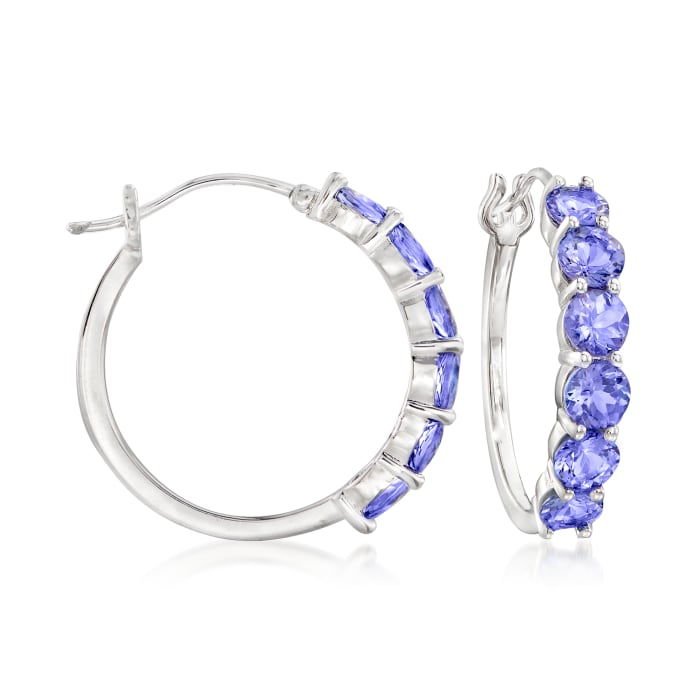 4.50 ct. t.w. Tanzanite Hoop Earrings in Sterling Silver