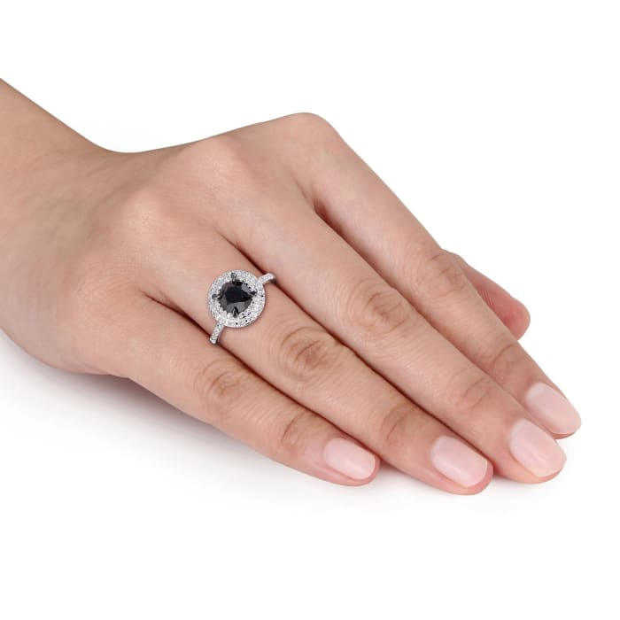 1.50 Carat Black Diamond Ring with White Diamond Accents in 14kt White Gold