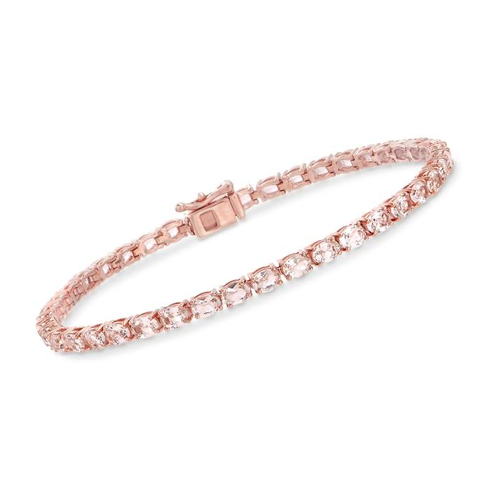 5.60 ct. t.w. Morganite Tennis Bracelet in 14kt Rose Gold Over Sterling