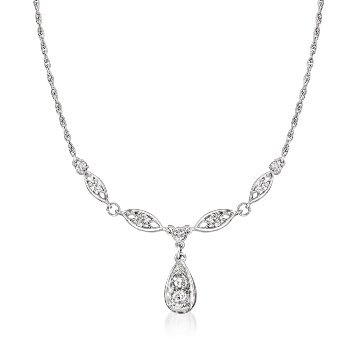 C. 1980 Vintage .90 ct. t.w. Diamond Necklace in Platinum and 14kt White Gold