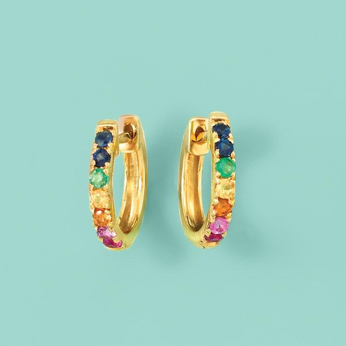 .28 ct. t.w. Multi-Gemstone Huggie Hoop Earrings in 14kt Yellow Gold