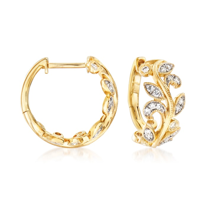 Gabriel Designs .28 ct. t.w. Diamond Leaf Hoop Earrings in 14kt Yellow Gold