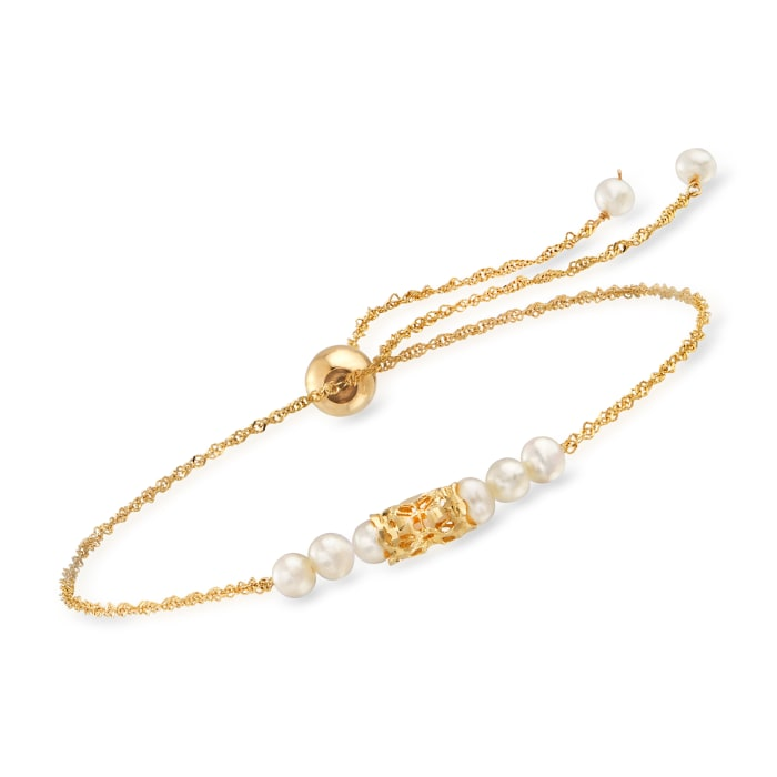 3-3.5mm Cultured Pearl Bolo Bracelet in 14kt Yellow Gold