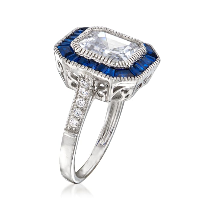 1.35 ct. t.w. CZ and .20 ct. t.w. Simulated Sapphire Ring in Sterling Silver