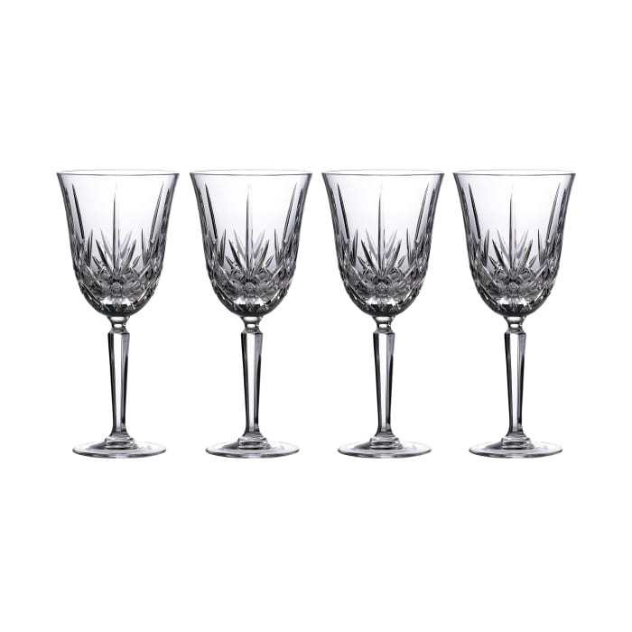 """Marquis by Waterford Crystal """"Maxwell"""" Set of 4 Goblet Glasses from Italy"""