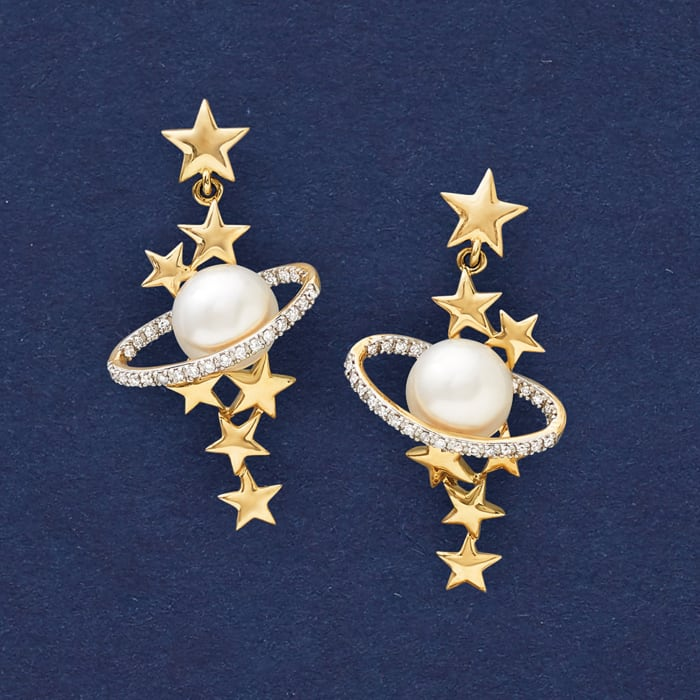 7.5-8mm Cultured Pearl and .15 ct. t.w. Diamond Star and Planet Drop Earrings in 14kt Yellow Gold