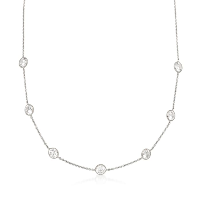 3.50 ct. t.w. Bezel-Set CZ Station Necklace in 14kt White Gold