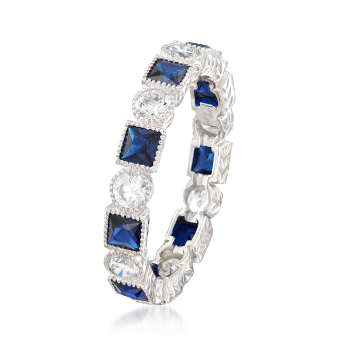 1.20 ct. t.w. Square Simulated Sapphire and .80 ct. t.w. CZ Eternity Band in Sterling Silver