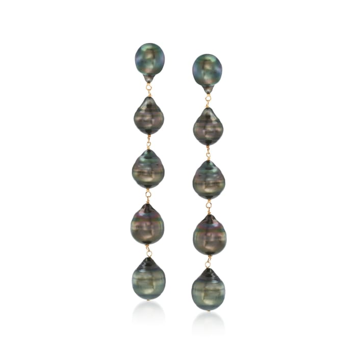 9-11mm Black Cultured Tahitian Baroque Pearl Linear Drop Earrings in 14kt Yellow Gold