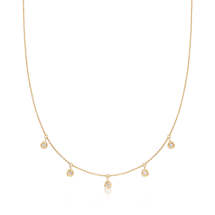 Roberto Coin .23 ct. t.w. Diamond Dangle Station Necklace in 18kt Yellow Gold