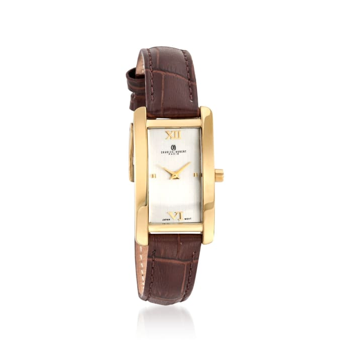 Charles Hubert Women's 30mm Stainless Steel and Gold Plate Watch with Brown Leather Strap