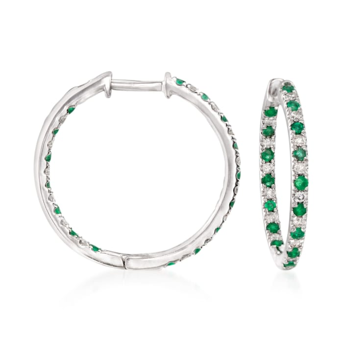.50 ct. t.w. Diamond and Emerald Inside-Outside Hoop Earrings in 14kt White Gold
