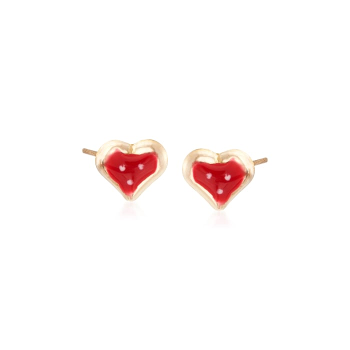 Child's Enamel Heart Stud Earrings in 14kt Yellow Gold