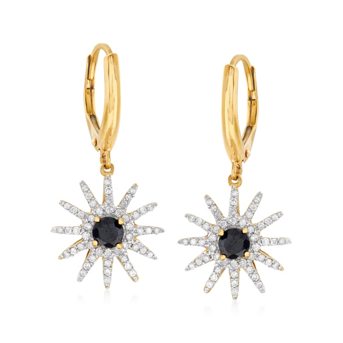 .50 ct. t.w. Sapphire and .49 ct. t.w. Diamond Sun Charm Drop Earrings in 18kt Yellow Gold Over Sterling Silver