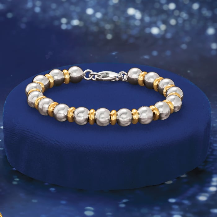 Italian Two-Tone Sterling Silver Bead Bracelet