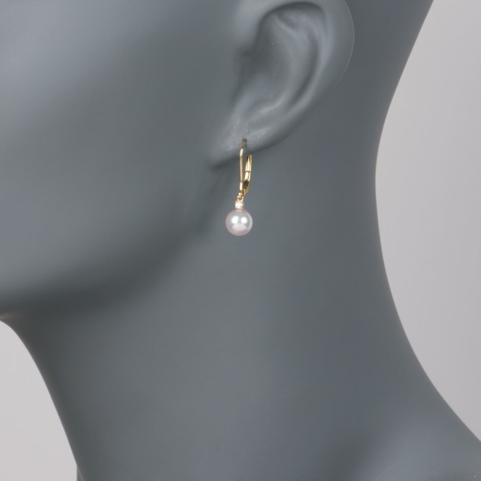 Mikimoto 7mm A+ Akoya Pearl Drop Earrings with Diamonds in 18kt Yellow Gold