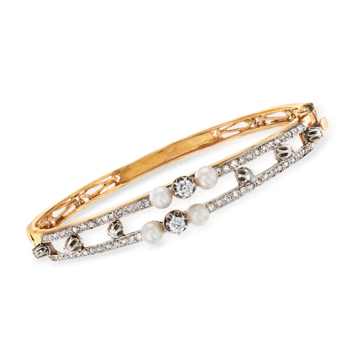 C. 1950 Vintage Cultured Pearl and 1.35 ct. t.w. Diamond Bangle Bracelet in 14kt Yellow Gold
