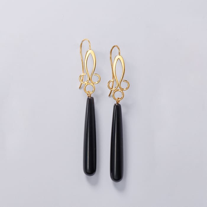 Long Teardrop Black Onyx Drop Earrings in 14kt Yellow Gold
